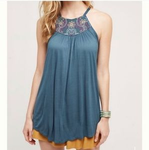 Anthropologie One September Teal Embroidered Top
